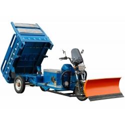 """Электрический трицикл с кузовом самосвального типа и снегоотвалом """"Буран1000"""""""